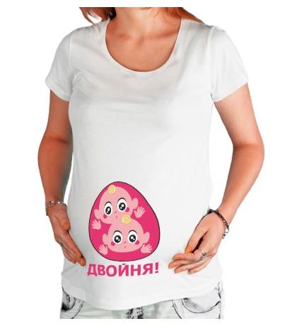 Футболка для беременной Двойня девочек