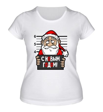 Женская футболка Санта арестован