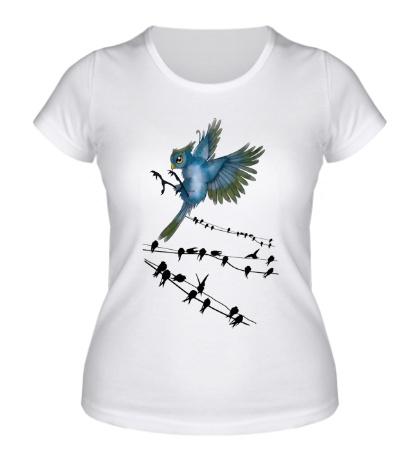 Женская футболка Птицы на проводах