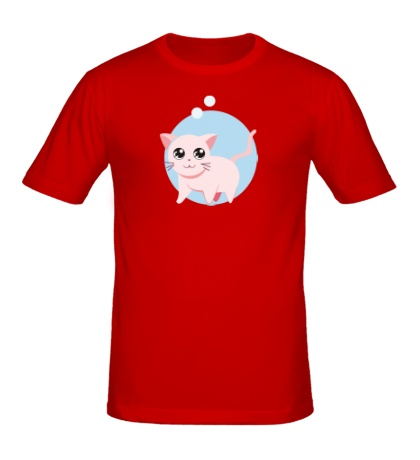 Мужская футболка «Розовая кошка»