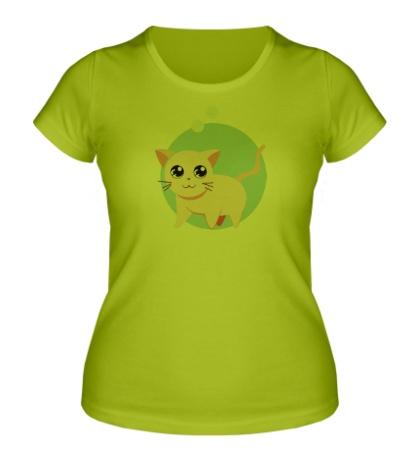 Женская футболка «Розовая кошка»