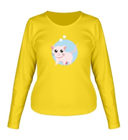 Женский лонгслив «Розовая кошка»
