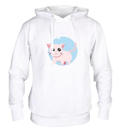 Толстовка с капюшоном «Розовая кошка»