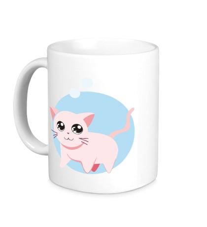 Керамическая кружка «Розовая кошка»