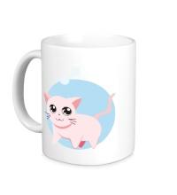 Керамическая кружка Розовая кошка