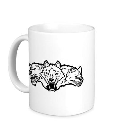 Керамическая кружка Разъяренные волки