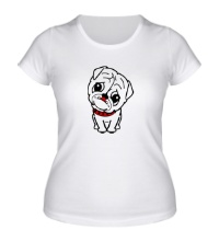 Женская футболка Маленький мопс