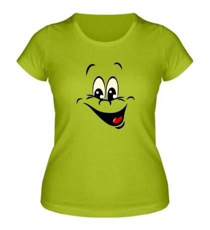 Женская футболка Радостный смайлик glow