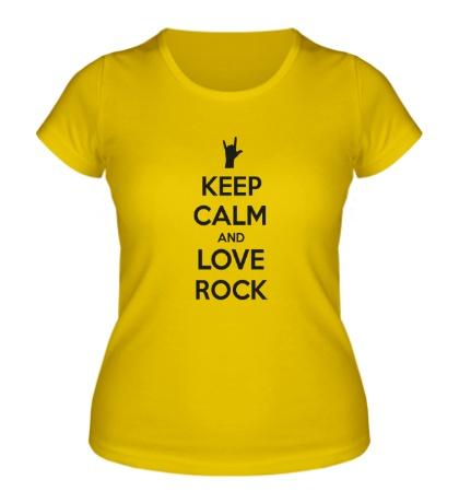 Женская футболка Keep calm and love rock