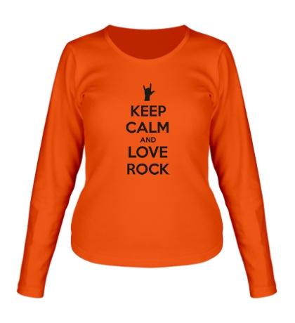 Женский лонгслив Keep calm and love rock