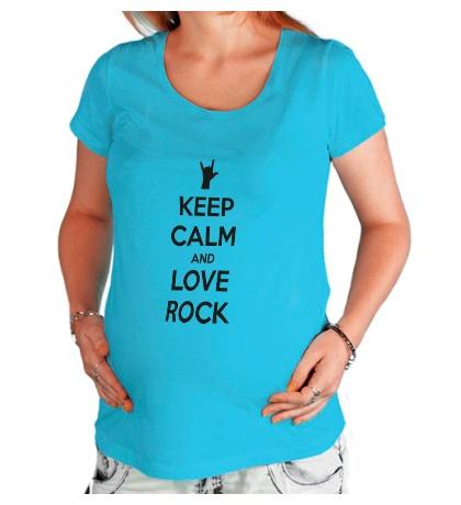 Футболка для беременной Keep calm and love rock