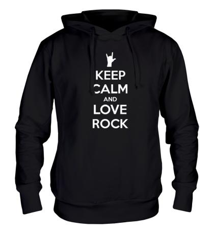 Толстовка с капюшоном Keep calm and love rock