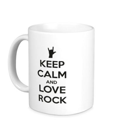 Керамическая кружка Keep calm and love rock