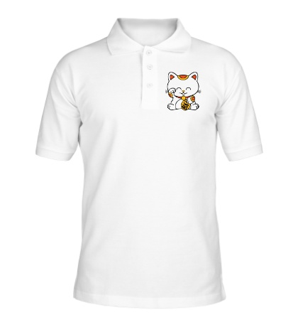 Рубашка поло Манэки-нэко кошка зовущие счастье