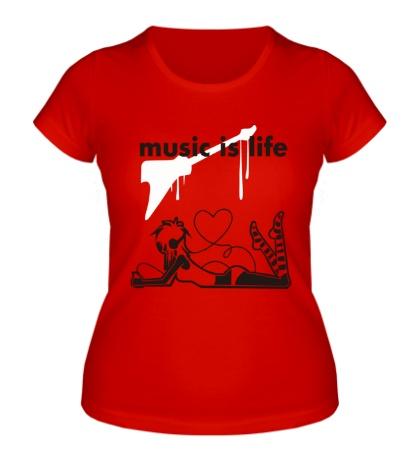 Женская футболка Music is life