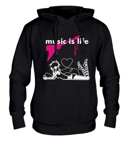 Толстовка с капюшоном Music is life