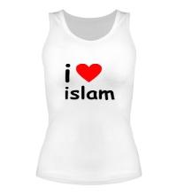 Женская майка I love islam