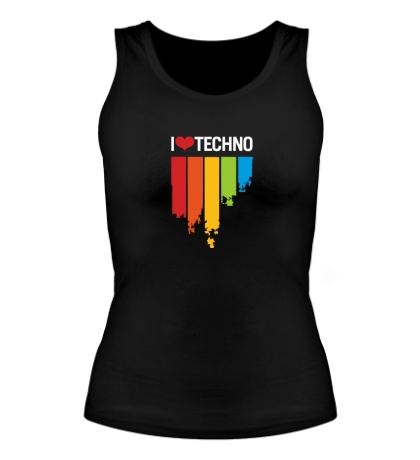 Женская майка I love Techno Colors