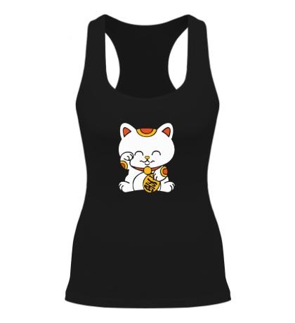 Женская борцовка Манэки-нэко кошка зовущие счастье