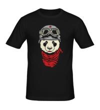 Мужская футболка Панда байкер, свет