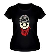 Женская футболка Панда байкер, свет