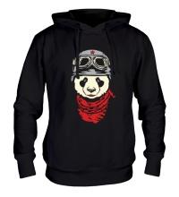 Толстовка с капюшоном Панда байкер, свет