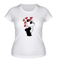 Женская футболка Поцелуй панды девочки