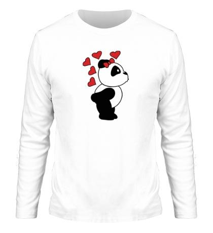 Мужской лонгслив «Поцелуй панды девочки»