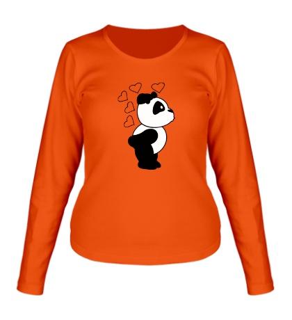 Женский лонгслив «Поцелуй панды девочки»