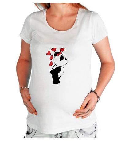 Футболка для беременной «Поцелуй панды девочки»