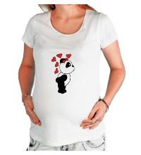 Футболка для беременной Поцелуй панды девочки