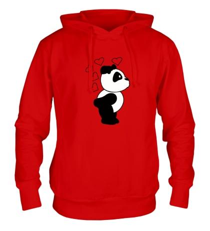 Толстовка с капюшоном «Поцелуй панды девочки»