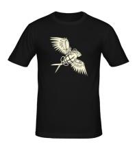 Мужская футболка Граната с крыльями glow