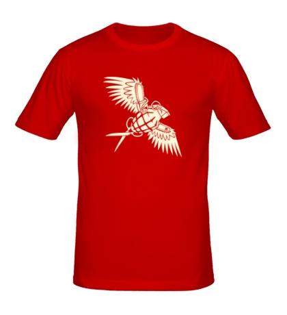 Мужская футболка «Граната с крыльями glow»