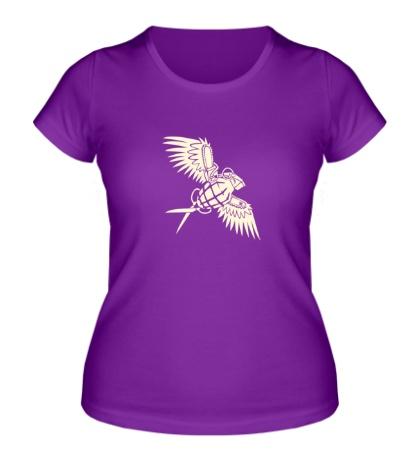 Женская футболка «Граната с крыльями glow»