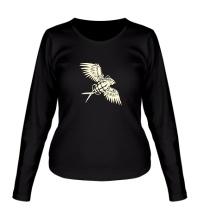 Женский лонгслив Граната с крыльями glow
