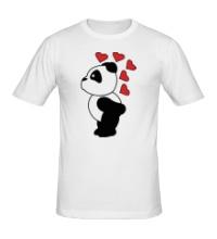 Мужская футболка Поцелуй панды мальчика