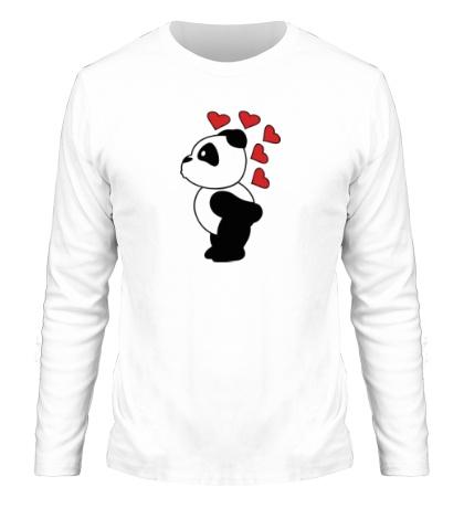 Мужской лонгслив «Поцелуй панды мальчика»