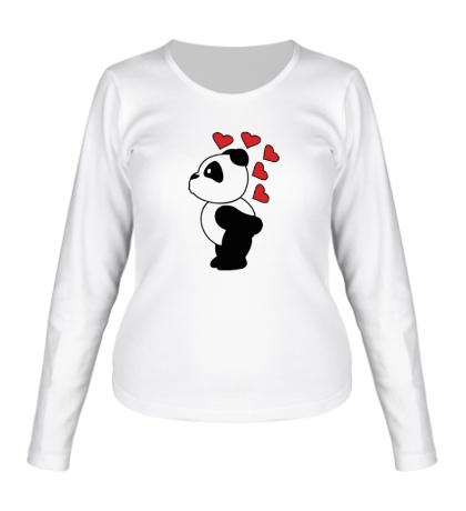 Женский лонгслив Поцелуй панды мальчика