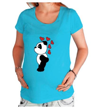 Футболка для беременной «Поцелуй панды мальчика»