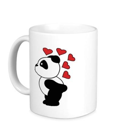 Керамическая кружка Поцелуй панды мальчика
