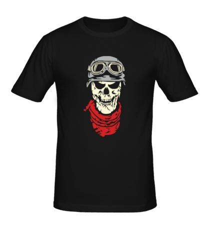 Мужская футболка «Череп байкера, свет»