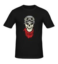 Мужская футболка Череп байкера, свет