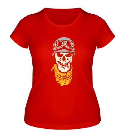 Женская футболка Череп байкера, свет