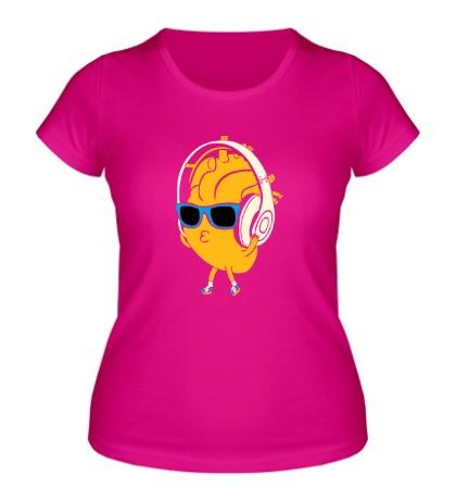 Женская футболка Сердце в наушниках светится