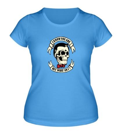 Женская футболка Я знаю кто ты, но кто же я? светится