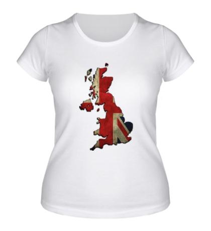 Женская футболка «Карта Великобритании»