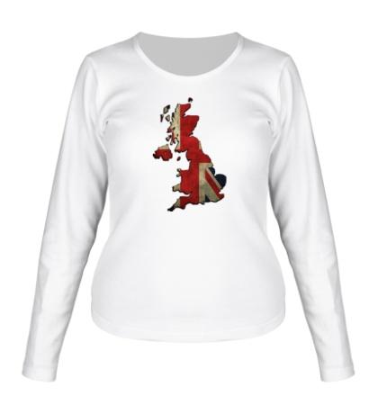 Женский лонгслив «Карта Великобритании»