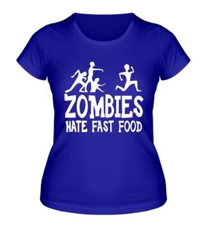 Женская футболка Zombies hate fast food