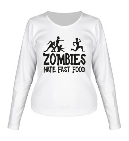 Женский лонгслив Zombies hate fast food